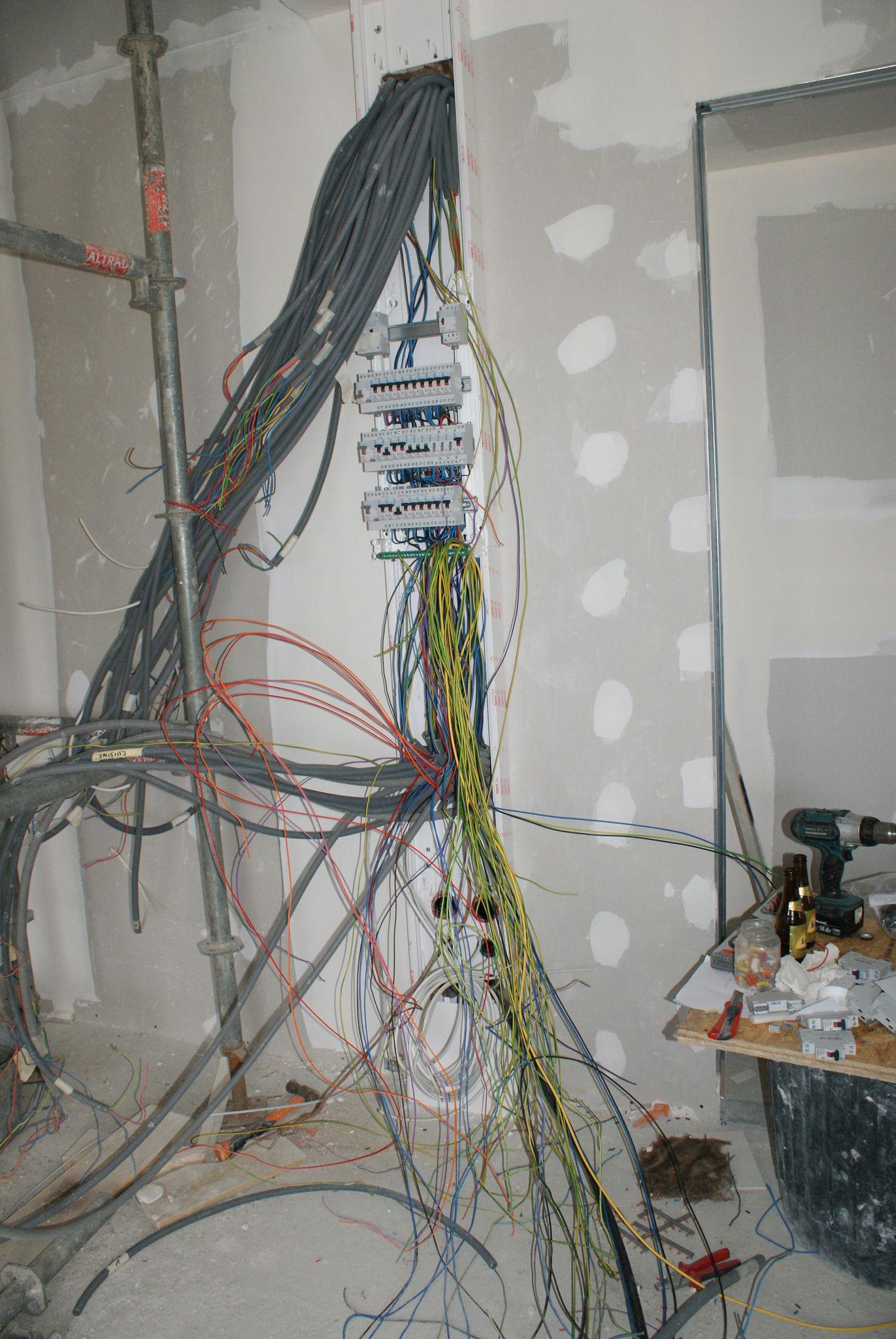 Arrivée gaine tableau electrique