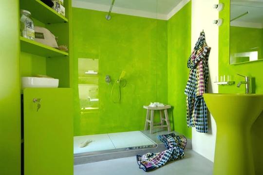Peinture carrelage salle de bain vert pomme