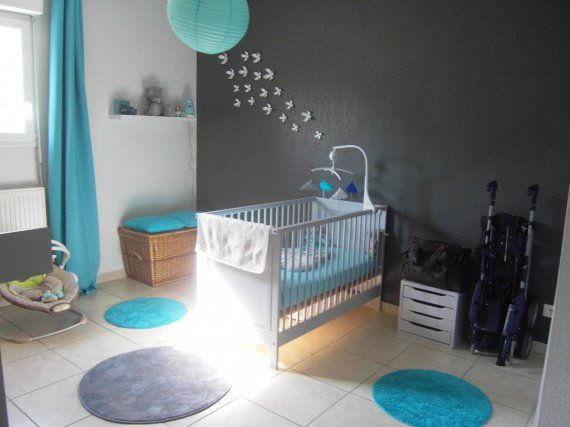 Peinture chambre turquoise gris