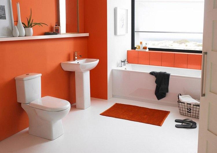 Peinture orange salle de bain
