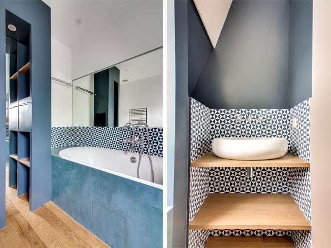 Peinture salle de bain bleu nuit