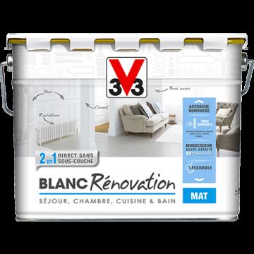 Peinture blanche rénovation séjour, chambre, cuisine et bain 2en1 mat 10 litres