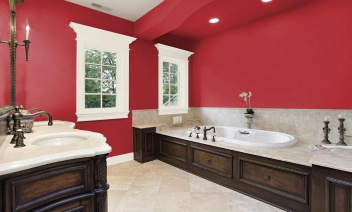 Peinture salle de bain gris rouge