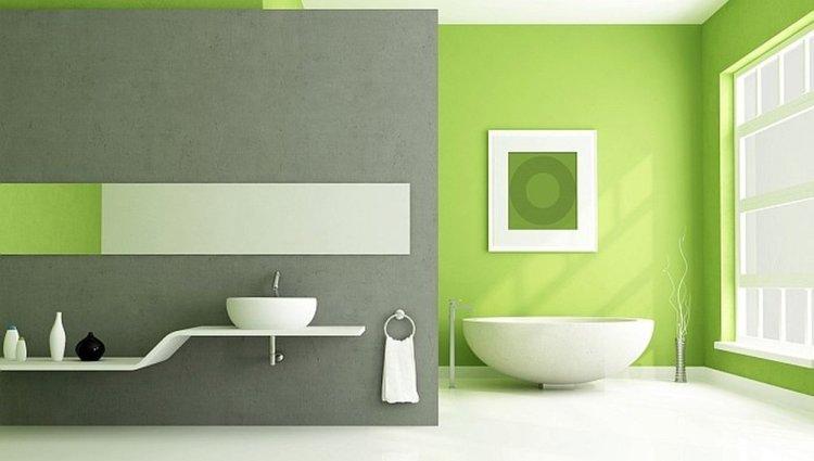 Peinture vert de gris salle de bain